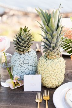 Tropical Pastel Wedding Inspiration - pineapple centerpiece tablescape