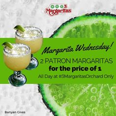 Come and enjoy 2 for 1 Patron Margarita all day today. Treat yourself and have fun with friends. Treat Yourself, Mall, Wednesday, Have Fun, Restaurant, Treats, Fruit, Guys, Friends
