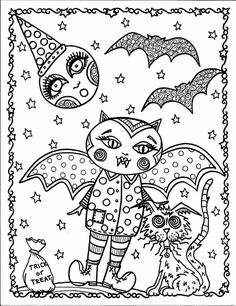 Halloween Digital Coloring Book Adult Color Pages