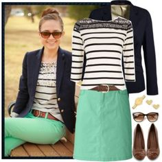 Gorgeous mint and navy style steal!