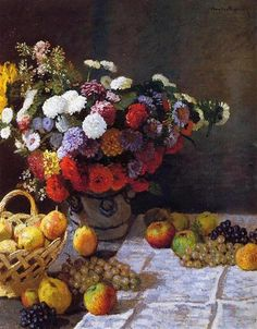 Flowers and Fruit, 1869 by Claude Monet. Impressionism. still life