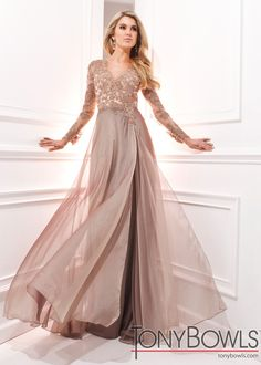 Tony Bowls Evenings TBE21436 Beaded Chiffon Gown