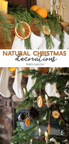natural christmas tree Be inspired to use Natural Christmas Decorations - dried oranges, apples, cranberry strings, popcorn strings, pinecones and fresh greenery. Natural Christmas Tree, Red And Gold Christmas Tree, Christmas Holidays, Christmas Oranges, Xmas, Christmas Tree Decorations, Christmas Wreaths, Christmas Crafts, Christmas Signs
