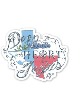 Deep in the Heart of Texas! - Constructed of durable vinyl with added UV laminate that protects your sticker from scratching, rain, and sunlight! - Dimensions 4 x 4 in. - MADE IN USA
