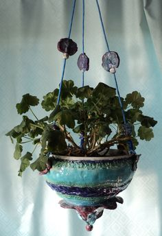 Hand built clay hanging planter