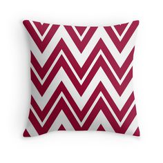 """""""Apple Red Zigzags"""" Throw Pillows by TheCatThatFlys 