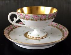 SIGNED ELITE LIMOGES PORCELAIN DEMITASSE FOOTED CUP/ SAUCER ~PINK ROSES/GOLD #TRESSEMANNVOGT
