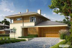 Projekt domu Rodrigo II G2 - wizualizacja frontowa Ares, Garage House, Hunting Dogs, Design Case, New Builds, Home Fashion, House Plans, Mansions, House Styles