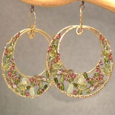 Bohemian 127 Hammered circles with green tourmaline, ruby, vessonite, and prehnite