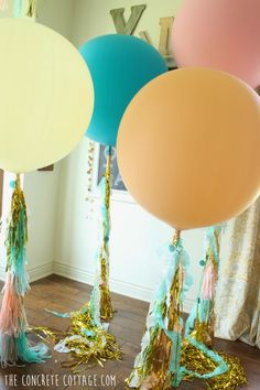 The Concrete Cottage: Giant Balloons with Party Tassels