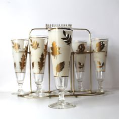 Vintage Libbey Autumn Gold leaf Pilsner Glasses x8  by Hallingtons, $27.95