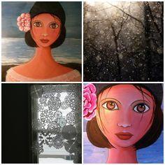 """Peinture acrylique sur bois 40X40. """"Terre Neuve""""."""