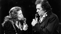 June Carter Cash and Johnny Cash in 1991 at the Celebrity theatre in Anaheim