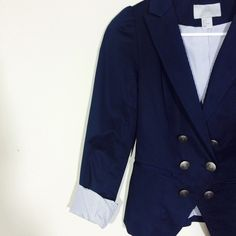 """H&M navy blazer Navy blue blazer with double breasted buttons faux pockets                                          shell: 97% cotton, 3% elastane, lining: 85% polyester, 15% cotton                                    top to bottom approx 24""""                                   arms length unrolled approx 23""""                            across the chest, approx 14"""" H&M Jackets & Coats Blazers"""