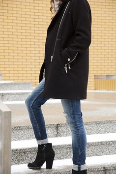 Black coat and wedges