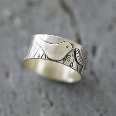 Bird In The Garden Silver Ring by Shere Design