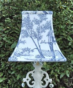 Shabby Chic Elegant Lamp with Blue Toile Fabric Lampshade ...