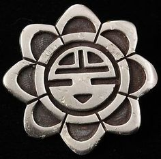 Vintage Native American Hopi Sterling Silver Old Pawn Sunface Overlay Brooch Pin | eBay