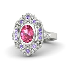 Oval Pink Tourmaline Sterling Silver Ring with Iolite & White Sapphire - Arya Ring | Gemvara