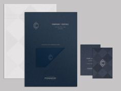 Monogram and stationery designed by Freytag Anderson for champagne and cocktail bar at Hilton Park Lane, London