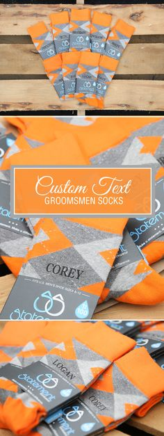 These are the socks for the bold couples in the room. Tangerine Orange is bright. Like, really bright. These orange argyles are the perfect way to tie your wedding color themes together. The socks will catch eyes all through the reception hall, and they can even be customized with monograms, text or dates. They'll make the perfect groomsmen invitation or thank you gift for the most important guys in your life. Check out these tangerine orange argyle customized text groomsmen dress socks and…