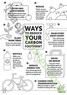 Ways to Reduce Your Carbon Footprint - Poster Teaching Resource Teaching Resource: Display this poster when learning about sustainability. Environmental Education, Sustainability Education, Sustainability Projects, Save Our Earth, Save The Planet, Help The Environment, Global Warming, Sustainable Living, Zero Waste