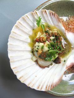 Grilled mussel, pecorino, apple and lemon at Boulevard Social Helsinki
