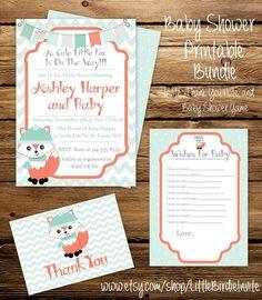 Little Fox Baby Shower Invitation Printable by LittleBirdieInvite  #babyshower…