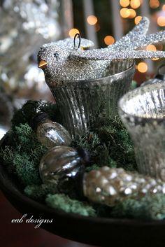 petite mercury glass and glitter bird ornaments.