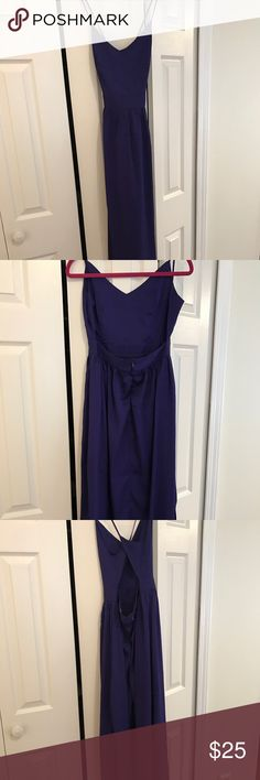 Beautiful backless maxi dress! I love this dress!! Super fun dark purple maxi dress with an open back and cross straps!! Has two slits on the sides so it's easier to walk in. Never worn!! Tobi Dresses Maxi