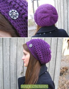 Made on Main: Spin-A-Yarn | Crochet Beanie Tutorial- I have one of those diamond pins that I have been wanting something to use it for.