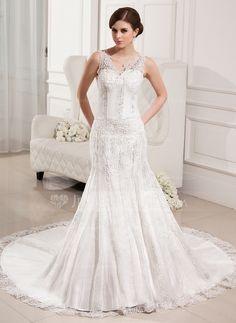 Wedding Dresses - $228.99 - Trumpet/Mermaid V-neck Chapel Train Satin Tulle Wedding Dress With Lace Beading (002000330) http://jenjenhouse.com/Trumpet-Mermaid-V-Neck-Chapel-Train-Satin-Tulle-Wedding-Dress-With-Lace-Beading-002000330-g330