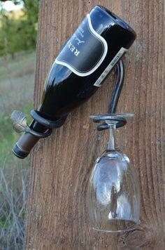 Leaf end bottle and glass holder by DansMetalArt on Etsy