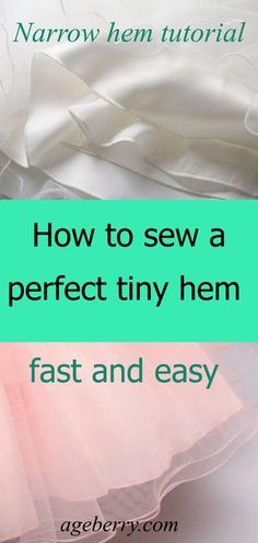 CS - Sewing tutorial on sewing narrow hems on slippery fabrics especially silk charmeuse, chiffon and organza. Learn how to sew rolled hems using a ban roll tape.Fantastic 50 Sewing projects are offered on our internet site. Take a look and you wont be so Sewing Hacks, Sewing Tutorials, Sewing Crafts, Sewing Tips, Sewing Ideas, Sewing Lessons, Dress Tutorials, Sewing Basics, Techniques Couture
