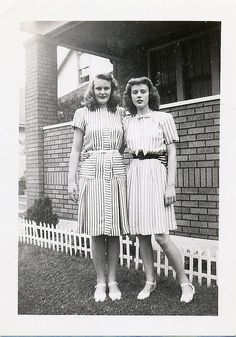 Stripes by KID DEUCE, via Flickr - I love the use of stripes on the dress on the left. And they both have great hair!