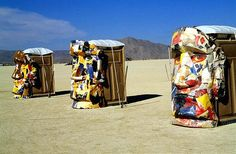 'Crazy paper mache potties from the annual Burningman festival in the Nevada desert.'