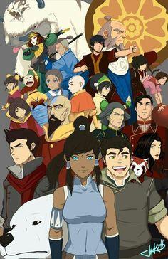 Avatar the Last Airbender and Legend of Korra - sigh, I miss the old team! Especially Iroh abd his tea. Avatar Aang, Avatar The Last Airbender Art, Team Avatar, Futurama, Arte Ninja, Avatar World, Avatar Characters, Avatar Series, Manga Anime
