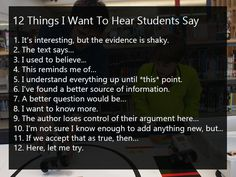 12 Things I Want To Hear My Students Say. I want to hear and see students grappling with uncertainty–growing both intellectual and emotional muscle. Smarts and self-efficacy. Knowledge and perseverance. Teacher Memes, My Teacher, Teacher Stuff, Educational Leadership, Educational Technology, Thinking Skills, Critical Thinking, Sentence Stems, I Used To Believe