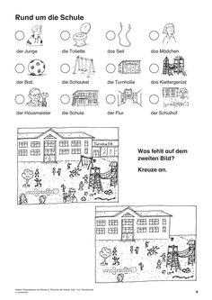 Artikel, Präpositionen und Nomen 3, Rund um die Schule, DaF/DaZ, 1. und 2. Klasse