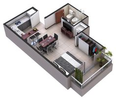 Plano de Casa Instead of the dining table, put a couch Dream House Plans, Small House Plans, House Floor Plans, Tiny Spaces, Small Apartments, Roof Design, House Design, Modular Home Floor Plans, Casas Containers