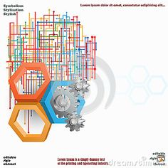 Three Dimensions Hexagons With Cog Wheels And Colorful Web Stock Vector - Illustration of environment, mechanism: 48200683