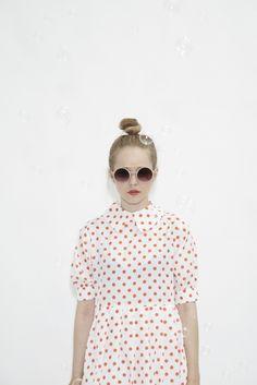 Polka Dot Big Collar Dress Coral