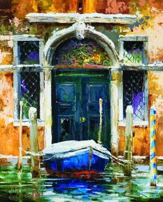 'Venetian Door' by Gleb Goloubetski, Oil on Canvas, Watercolor Landscape, Watercolor Paintings, Venice Painting, Painting Workshop, Zen Art, Art For Art Sake, Seascape Paintings, Fine Art Gallery, Art Techniques