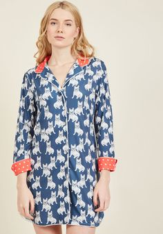 <p>Kickstart your day the quirky way - by rolling out of bed in this navy nightshirt! Exclusive to ModCloth, these Frenchie-printed jammies energize you in the morning - and help you relax in the evening - with soft knit fabric, a dotted-red collar and cuffs, and loads of canine charisma.</p>