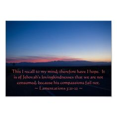 Lamentations 3: 21-22 Poster by Scripture Classics #zazzle #gift #photogift #christian #bible