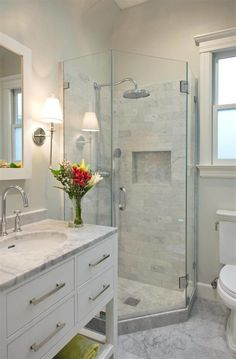 Impressive Tiny Restroom Remodel Ideas - A little bathroom remodel on a budget plan. These cheap bathroom remodel ideas for tiny restrooms are quick and also easy. Cheap Bathroom Remodel, Restroom Remodel, Cheap Bathrooms, Bathroom Renovations, Small Bathrooms, Small Bathroom Showers, Small Full Bathroom, Bathroom Makeovers On A Budget, Small Master Bath