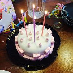 pink & white Birthday Cake for Girls. Marshmallow hearts ...