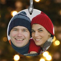 OMG. How cute Great gifts for people to hang on their tree. A Picture of the Bride and Groom. or anyone really for a gift !! Nice.