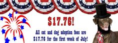 You gained your independence in 1776, now give shelter pets theirs for $17.76. For the first week of July, adopt a dog or cat for this reduced adoption fee at Orange County Animal Services   http://www.ocfl.net/?tabid=221  *Orange County Animal Services will be closed on Thursday, July 4, 2013.