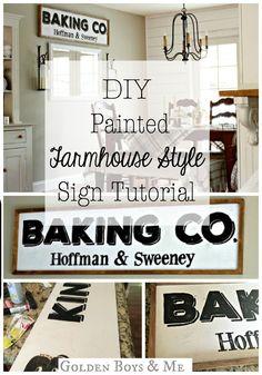 DIY Painted Farmhouse Style Sign tutorial - http://www.goldenboysandme.com